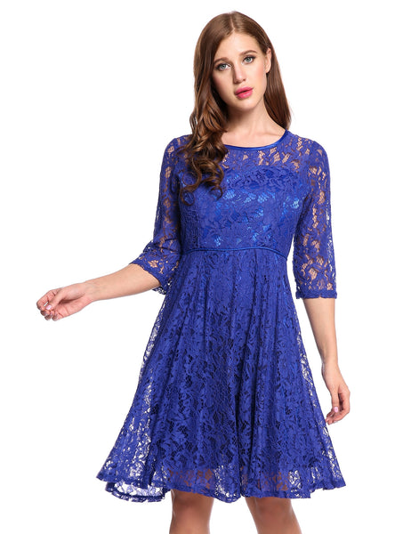 Blue O-Neck Three Quarter Sleeve Floral Lace Hollow Out Going Out Dress