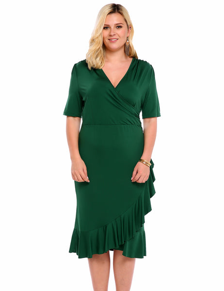 Army green Half Sleeve Ruffles Slit Bodycon Plus Size Dress