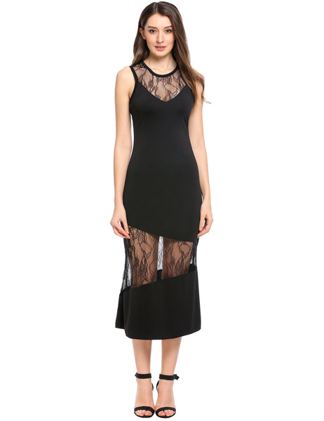Black O-Neck Sleeveless Lace Patchwork Hollow Out Elastic Party Dress
