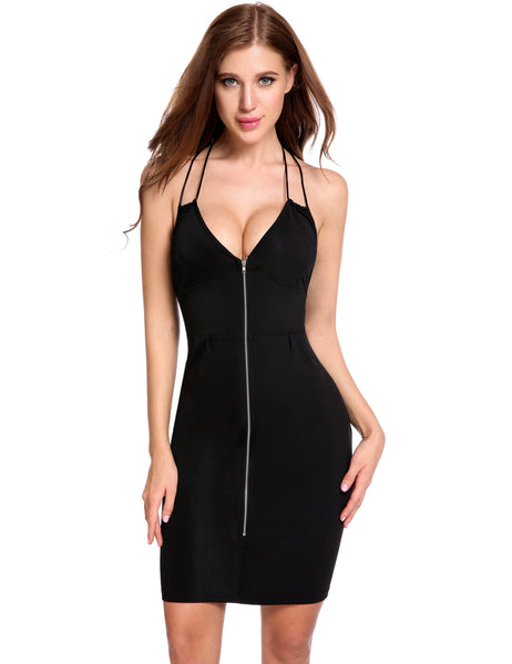 Black Front Zip V-Neck Halter Back Adjustable Spaghetti Going Out Dress