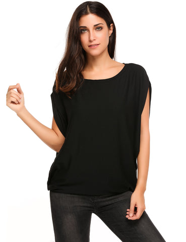 Black Batwing Short Slit Sleeve Solid Pullover Loose T-Shirt