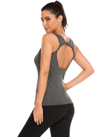 Gray Backless Roll Design O-Neck Sleeveless Solid Tank Tops