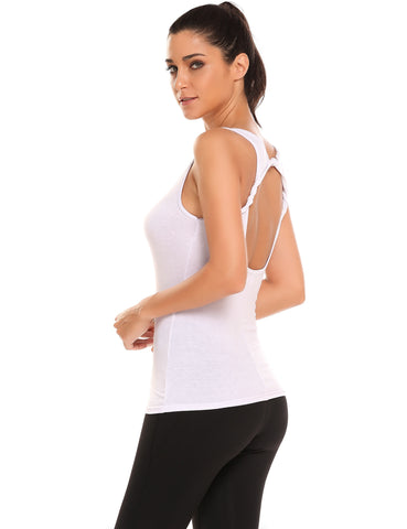White Backless Roll Design O-Neck Sleeveless Solid Tank Tops