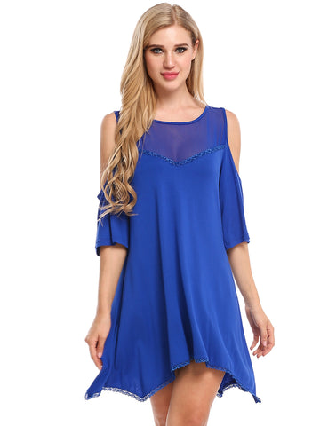 Royal Blue Women Sexy Off Shoulder See-through Lace Patchwork Mesh Elastic Mid-Long T-Shirt