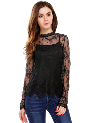 Black Floral Lace T-Shirt with Solid Cami Top 2 Pieces Clothes Set