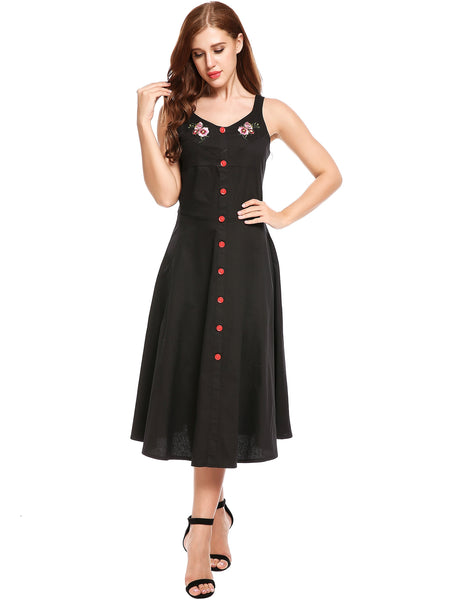 Black Embroidery Decorative Button A-Line Pleated Hem Dress