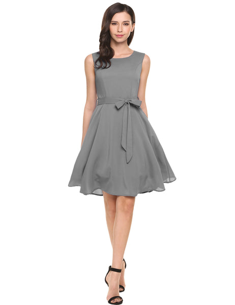 Gray Sleeveless Solid Belted Cocktail Belted Party Dress