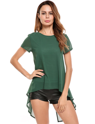 Back Split Asymmetrical Hem Chiffon Top with Lining