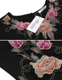 Black Lantern Sleeve Appliques Loose Chiffon Dress