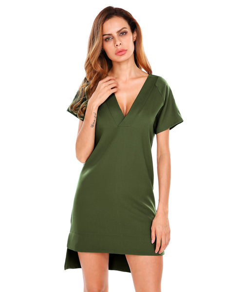 Army green Short Sleeve V-neck Asymmetric Hem Shift Dress