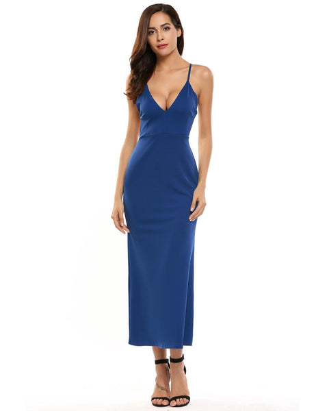 Spaghetti Strap Sleeveless Solid Formal Maxi Dress