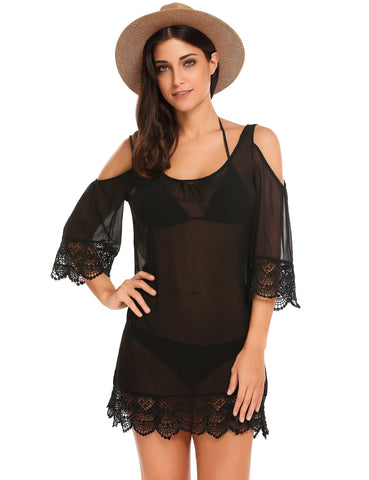 Flare Sleeve Cold Shoulder Lace Patchwork Chiffon Cover-Up