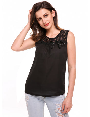 Black Sleeveless Chiffon Lace Patchwork Slim Tank Tops