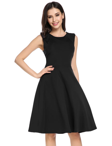 Black O-Neck Sleeveless Solid Casual Party Swing Skater Dress