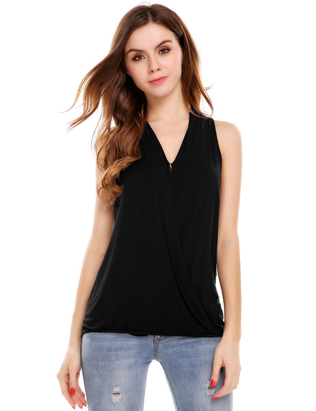 Front Cross V-Neck Solid Pullover Elastic Tank Tops