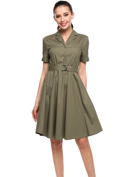 Army green Turn-down Collar Short Sleeve Solid A-Line Casual Dress