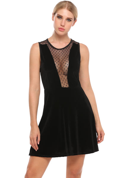 Black Mesh Patchwork Lint See-through Elastic Pleated Hem Dress