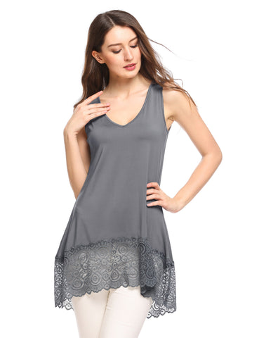 Sleeveless V-neck Asymmetric Lace Slim Long Blouse