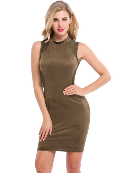 Army green Faux Suede Mesh Patchwork Hollow Backless Package Hip Dress