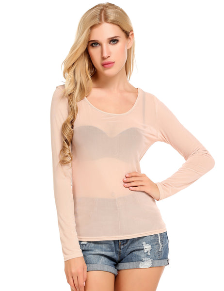 O-Neck Long Sleeve See-through Mesh Elastic T-Shirt