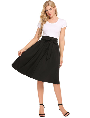Black Casual Solid Elastic High Waist A-Line Pleated Skirt