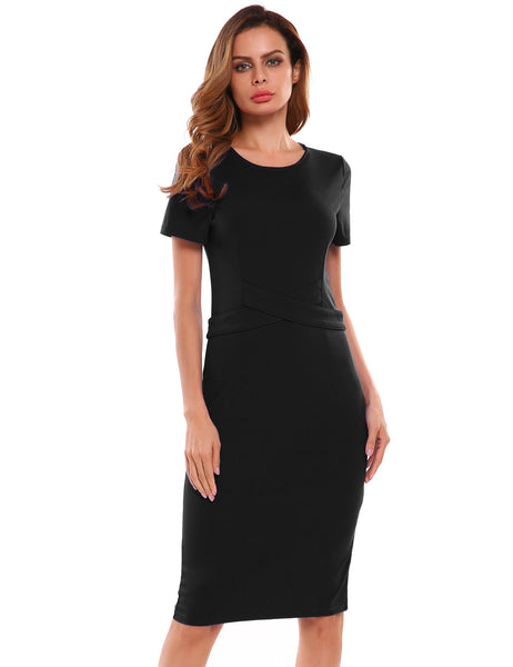 O-Neck Short Sleeve Solid Back Split Pencil Dress