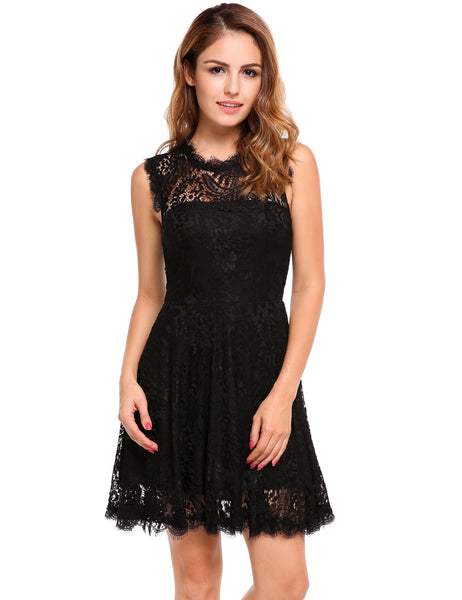 Black Floral Lace Hollow Out Backless A-Line Pleated Hem Dress