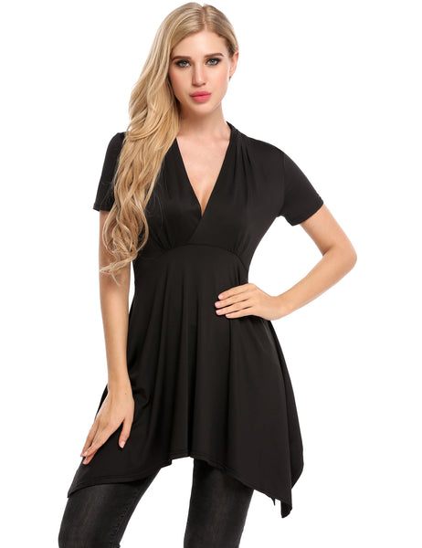 Black V-Neck Short Sleeve A-Line Pleated Asymmetrical Hem Dress
