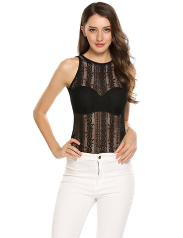 Black Lace Hollow Out O-Neck Sleeveless Back Button Tops