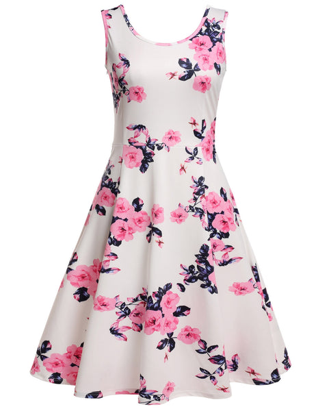 Pastel pink Sleeveless Floral Print Scoop Neck Beach Mini Dress
