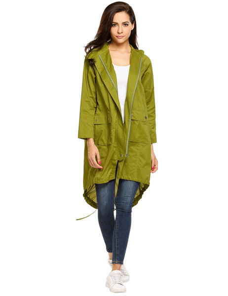 Stand Collar Long Sleeve Asymmetric Hem Loose Windbreak Coat