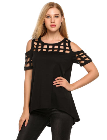 O-Neck Short Sleeve Cold Shoulder Hollow Out Tops