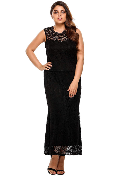 2017 New  Plus Size Sleeveless Backless Lace Evening Dress
