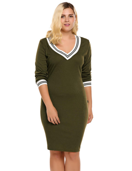 2017 New Plus Size Contrast Trim Pencil Knitted Sweater Dress