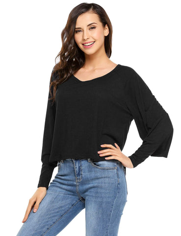 Batwing Long Sleeve Solid Casual Tops