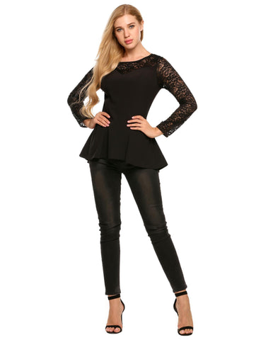 O-Neck Long Sleeve Lace Patchwork Slim Tops