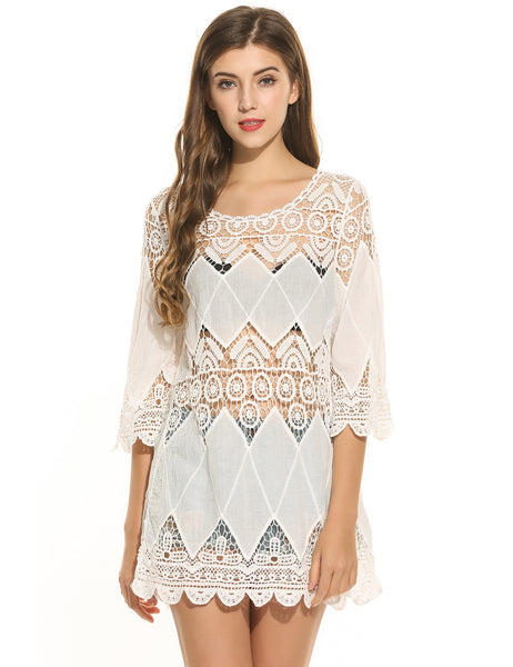Casual 3/4 Sleeve Lace Patchwork O Neck Pullover Ethnic Style Beach Dress