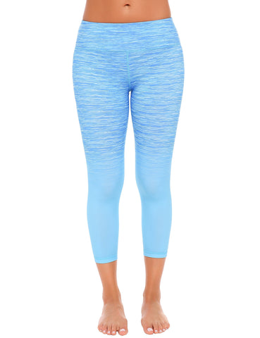 Blue Casual Gradient Color Slim Legging for Sport Fitness