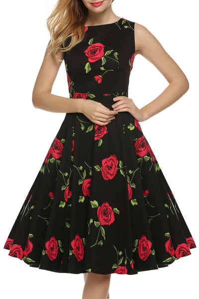 Black base red floral 1950s Sleeveless Print Party Cocktail Going Out Dress