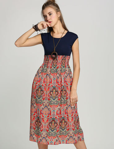 Womens Vintage Style Sleeveless Bohemian Style High Waist Long Dress