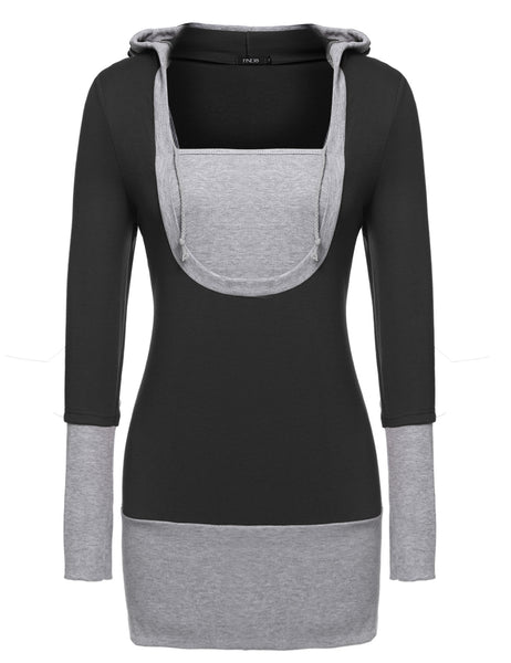 Red Hotsale Stylish Lady Women Long Sleeve Pullover Hoodies Solid Sports Tops Sweaters & Cardigans Casual Dresses