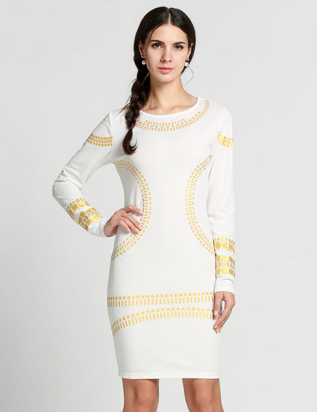 White Sexy Sequins Long Sleeve Bodycon Party Dress