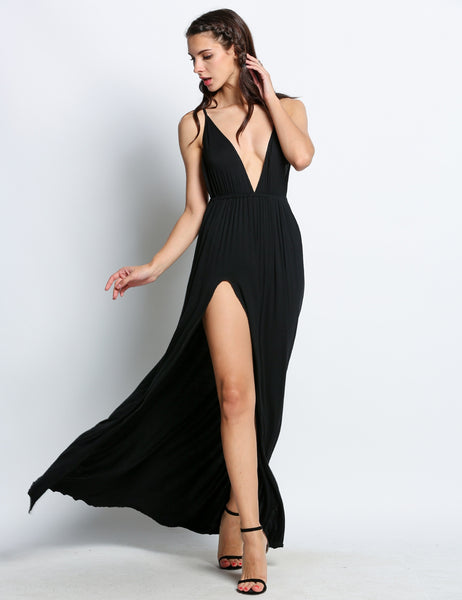 Plunge V-Neck Spaghetti Strap Backless Slit Long Going Out Dresses