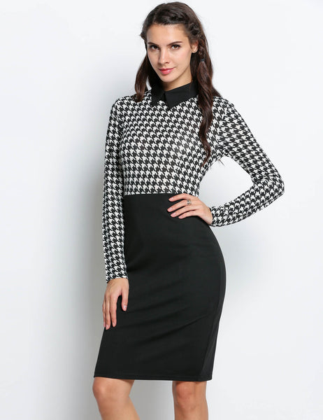 Long Sleeve Dress Plaid Patchwork Pencil Work Dress