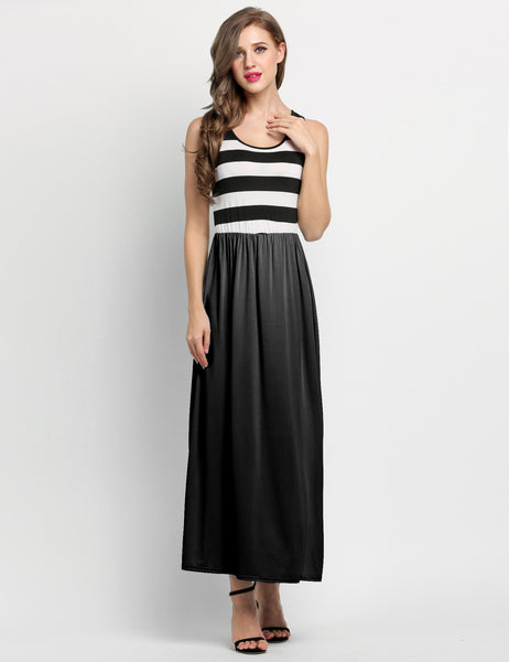 New Stylish Lady Women's Sleeveless Striped O-neck Party Maxi Long Casual Dresses