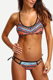 Tribal Print Bralette Cutout Bikini Set