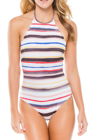 Multicolor Striped Wave Trim High Neck One Piece Swimsuit