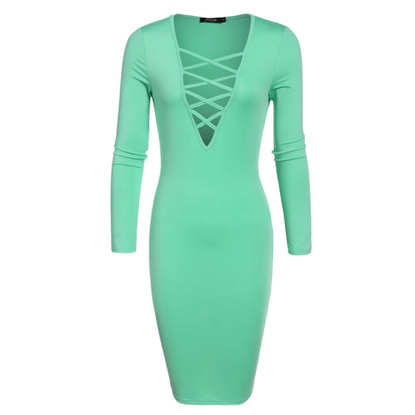 Green V Neck Solid Stretch Bodycon Pencil Bandage Going Out Dresses