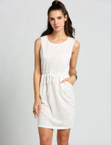 White Women O-Neck Sleeveless High Waist Package Hip Pencil Casual Dresses