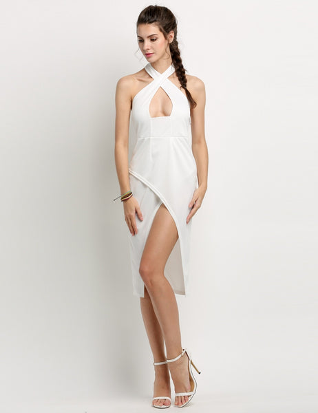 Cross Bandage Backles Going Out Dress